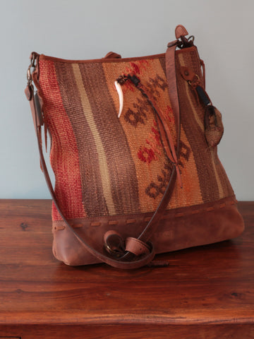Turkish kilim and leather bag - 251595