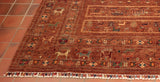 This rug has been hand knotted by skilled Turkoman weavers in Andkhoy, northwest Afghanistan.