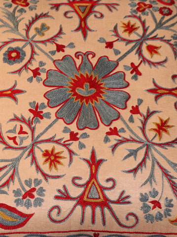 Fine Uzbek silk hand embroidered cushion - 263125