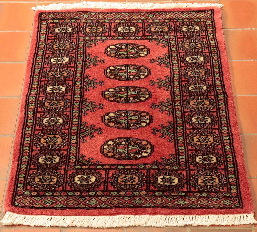 Pakistan Mori Bokhara Rug In Red: Lovely Soft Wool Small Size Pakistan Bokhara Rug In Pale