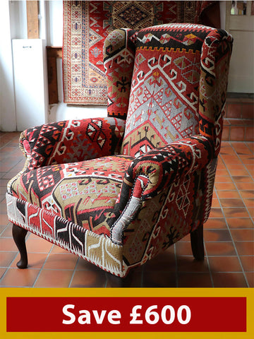 Turkish kilim wing back chair - 273828