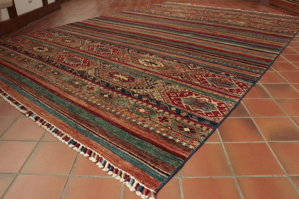 Hand knotted Afghan Samarkand rug using a mix of traditional and modern design.