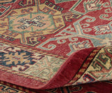 From the back you can see the excellent quality of this Afghan Kazak rug.