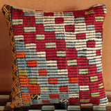 Wonderfully vibrant and playfully coloured Turkish Kilim cushion in red, blue, orange, green, and beige