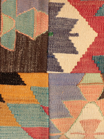 Naturally dyed, handmade and beautifully crafted Turkish Kilim patchwork cushion in a panelled design