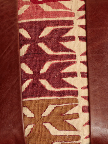 Turkish Kilim and Leather cushion - 284465