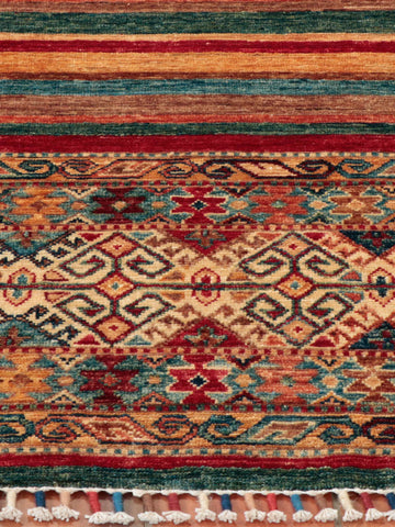 A masterfully handcrafted, finely knotted, Afghan Samarkand - weave from naturally dyed wool gathered from the native sheep