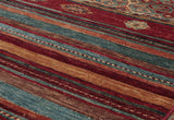 its all about the stripes with this Samarkand rug without the traditional border arrangement.