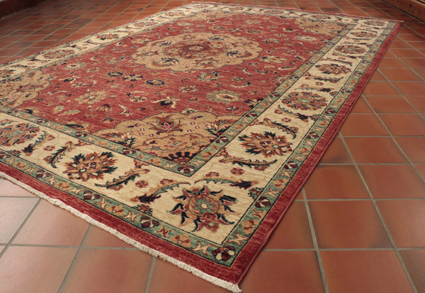 This rather traditionally coloured Afghan Aryana is 237 x 172cm (7'9 x 5'8) in size.