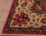 The corner of the rug shows the border details at their best.