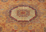 With a mix of yellow, cherry red and pale blue, this Fine Afghan Mamluk gives off the impression of an exquisite rug.