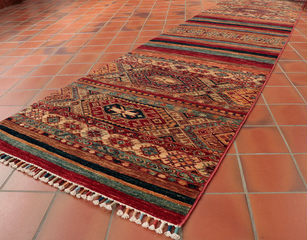 This Fine Afghan Samarkand runner is 298 x 78 (9'9 x 2'7) in size.