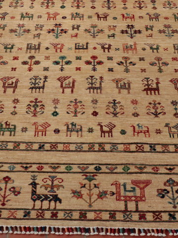 Wonderfully bizarre Afghan Samarkand, finely knotted using the naturally dyed wool of native Afghan sheep.