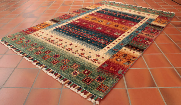 Loribaft rugs are produced in Afghanistan using design that can be attributed to Persian Gabbeh