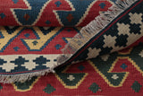 A Nomadic tradition Qhasqai hand made Kelim  can be used on both sides