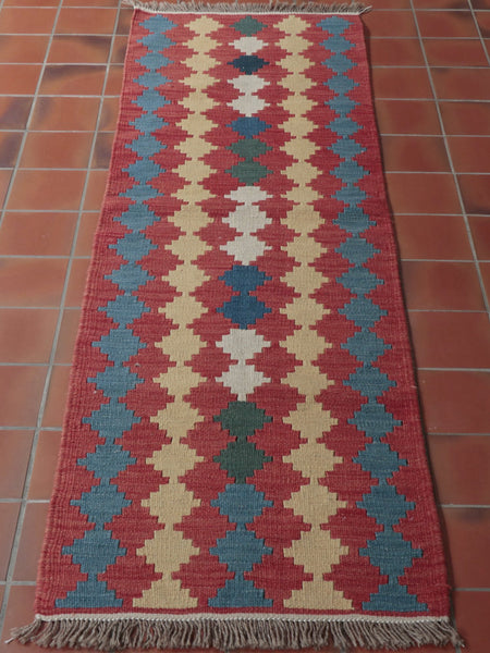 this runner is almost 2metres long and 58cm wide, A triangular repeating design has been used in terracotta blue or wheat colour.