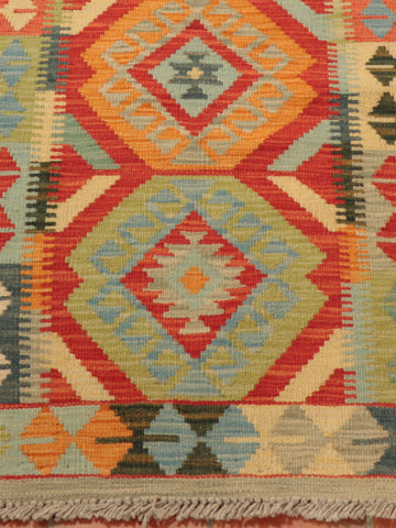 with two different shades of green, tangerine and terracotta, dove grey and pale blue, this runner certainly has the wow factor.