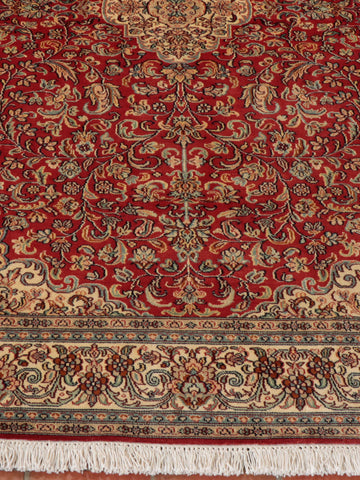 An exquisite, handcrafted, Kashmir Silk rug.