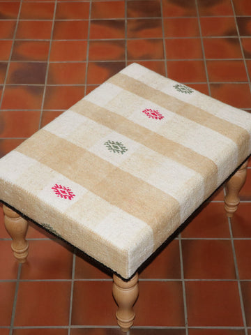 Medium Turkish kilim covered stool - 284893