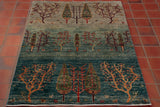 This rug in particular has fun little animals near the bottom of the various trees