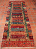 This Afghan Loribaft is 9'6 feet long, perfect for a hallway
