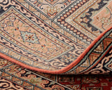 The back of the rug highlights the complexity of the design in detail even more , as a good way of telling the quality of a rug is the clearness of the pattern on the reverse side.