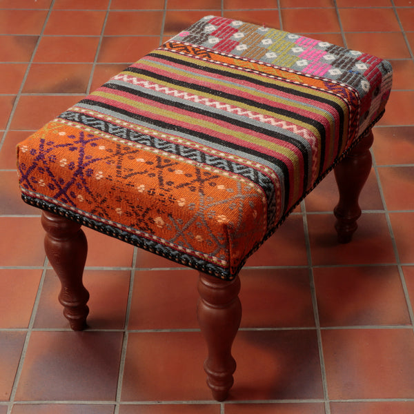 "This Turkish Kilim stool is 51 x 36cm (20"" x 14"") in size"