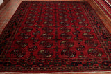 Made from hand spun vegetable dyed wool this Afghan Ersari is not only stunning to look at, it is also extremely practical and hard wearing. The background colour is a deep rich rust red and the pattern is an all over repeating small medallion which is coloured with dark blue, orange, bottle green and touches of cream.