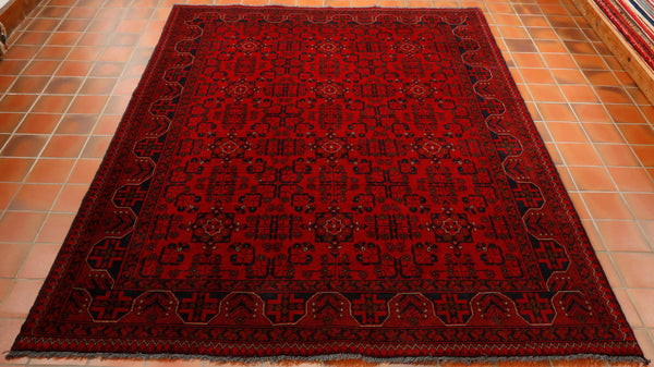 For centuries these rugs have been made in the same way with the methods being handed down from one generation to the next. The rich red colouring is created from boiling the roots of the madder plant which grows wild in Afghanistan and Iran. This rug is extremely practical  and reasonably priced.
