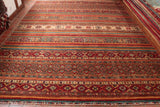 With this fine Afghan Samarkand rug bands of repeating patterns make this an unusual piece