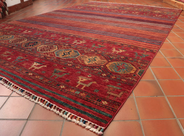 This lovely Afghan Samarkand carpet is 305 x 206cm (10' x 6'9) in size