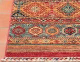 This bright vibrant Samarkand is topped off by the interesting tassels located at the end of the runner.