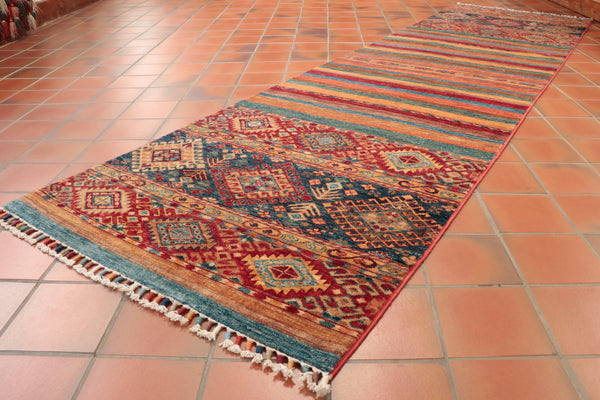 This lovely Afghan Samarkand runner is 287 x 79cm (9'5 x 2'7) in size