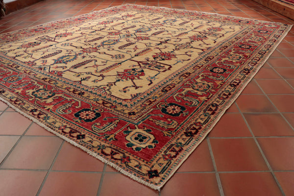 This wonderful fine Afghan Kazak is 217 x 200cm (7'2 x 6'7) in size