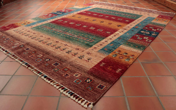 This Afghan Loribaft is 203 x 151cm (6'8 x 4'11) in size