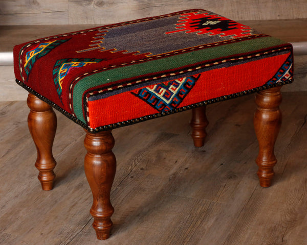 Medium Turkish kilim covered stool - 295627