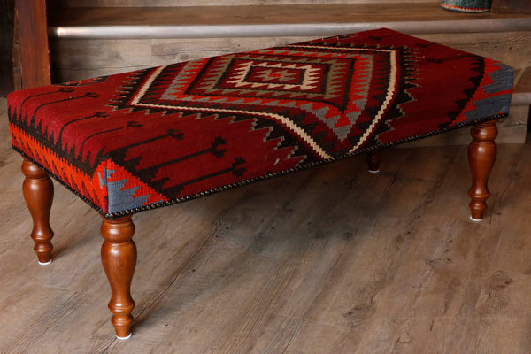 Turkish kilim covered bench stool - 295628