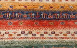 Plenty of interest in the design of this carpet, which reflects well on the historical designs used in Persian gabbehs.