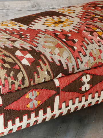 Old Turkish Kilim Ottoman storage bench