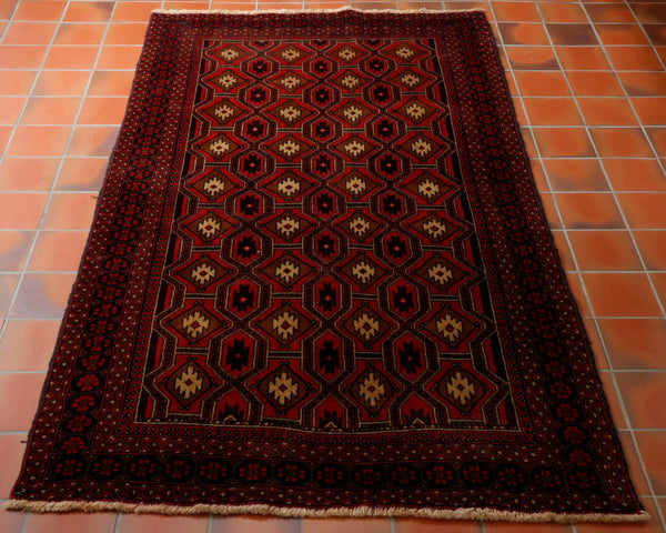 Afghan Belouch rugs are hand knotted using wool from local sheep. Very often the selvedge is made from goat hair. The colours tend to earthy reds, browns, dark blue with touches of cream to give some relief. They are certainly practical in colour and offer very good value for money.