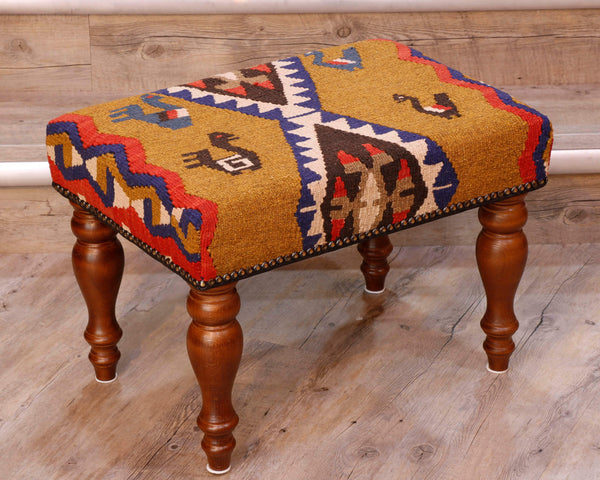 Medium Turkish kilim covered stool - 296173