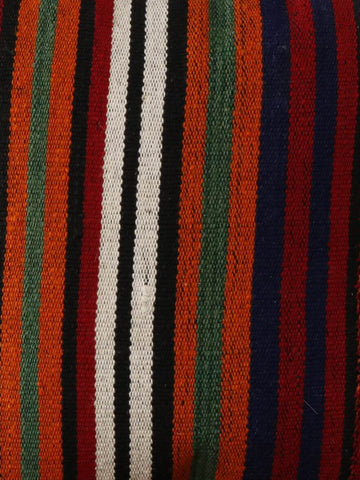 Turkish kilim cushion with stripes of red, black, green, orange and blue 40 x 40cm 1'4 x 1'4