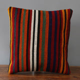Turkish kilim cushion with stripes of red, black, green, orange and blue 40 x 40cm 1'4 x 1'4  Edit alt text