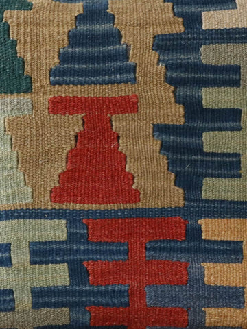 Turkish kilim cushion in blue, terracotta, gold and orange 40 x 40cm 1'4 x 1'4