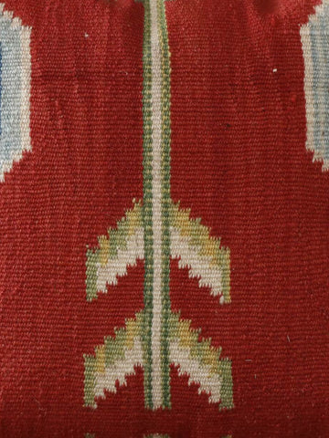 Terracotta and pale blue Turkish kilim cushion 40 x 40cm 1'4 x 1'4