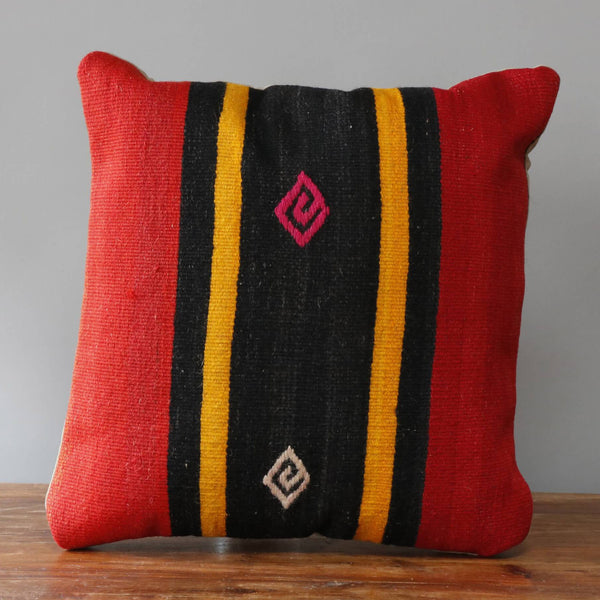kilim cushion in red, black and gold colouring 40 x 40cm 1'4 x 1'4