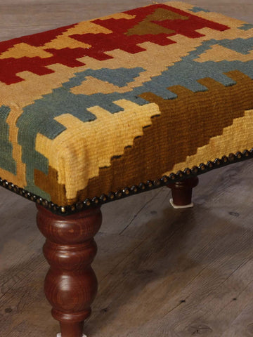 hand woven kilim covered stool in red, gold and blue 41 x 30cm - (1'4 x 1'0)