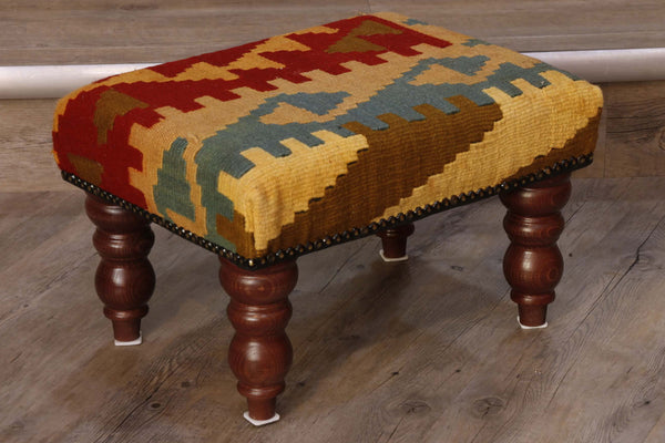 hand woven kilim covered stool in red, gold and blue 41 x 30cm - (1'4 x 1'0)  Edit alt text