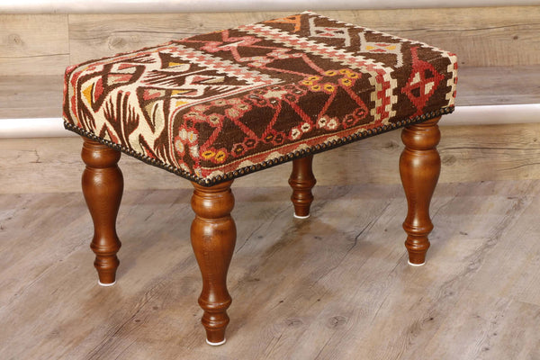 Turkish kilim covered stool in browns, cream and soft red colourings 51 x 36cm 1'8 x 1'2