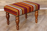 Multi coloured stripe kilim covered foot stool 51 x 36cm - (1'8 x 1'2)
